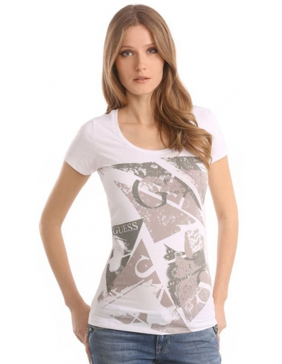 Guess - SS RN LACE TEE - Wit - T-shirts
