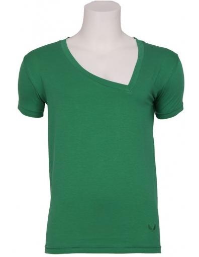 Zumo - Larione - T-shirt S/S Asy V-neck GR - Groen - T-shirts