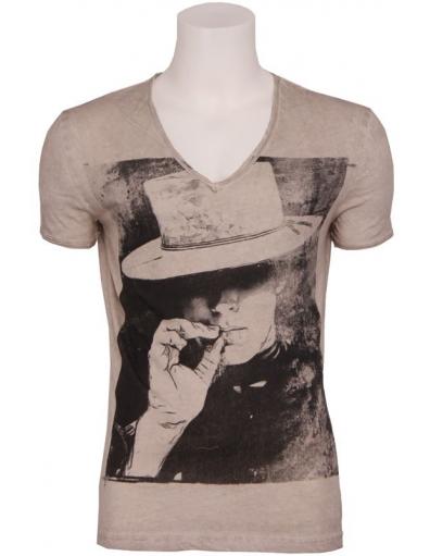Antony Morato - Denim farm vneck beige - Beige - T-shirts