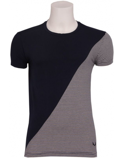 Zumo - FASCO - T-SHIRT S/S Partially Stripe - Blauw - T-shirts