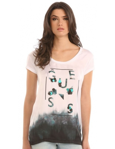 Guess - SS RN SEQUINS TEE  - Wit - T-shirts