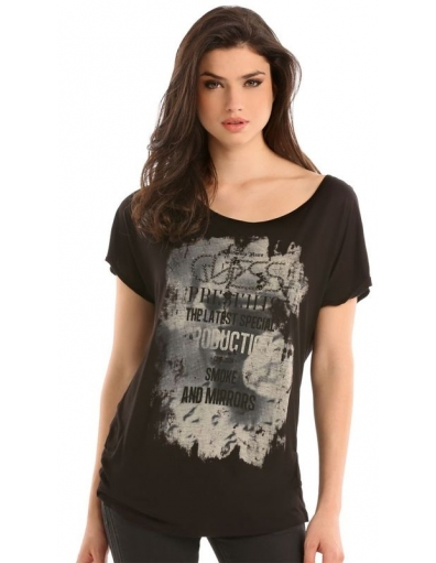 Guess - CONFUSION KNIT TOP - Zwart - T-shirts