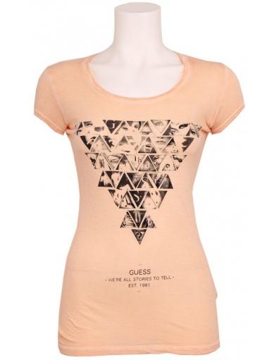 Guess - SS RN TRIANGLES TEE - Perzik  - Oranje - T-shirts