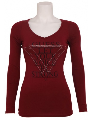 Guess - LS VN LET YR. VOICE TEE - Rood - T-shirts