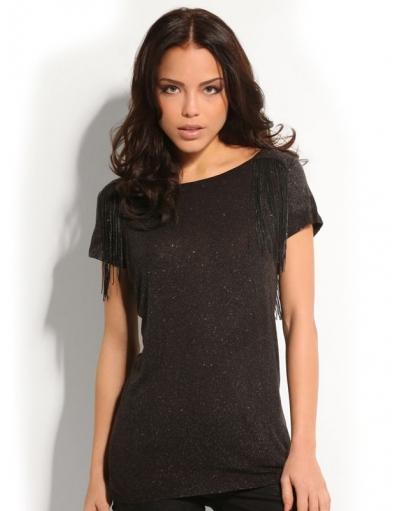 Guess - MARITA KNIT TOP - Zwart - T-shirts