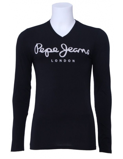 Pepe Jeans - Original Long V  - Zwart - T-shirts