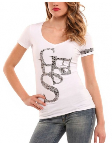 Guess - SS artistic shirt - Wit - T-shirts