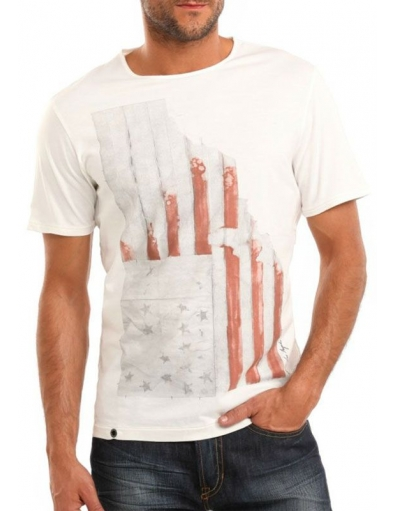 Guess - SS CN Guess Flag Tee - Wit - T-shirts