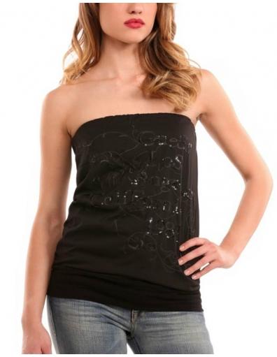 Guess - Edna top - Zwart - T-shirts